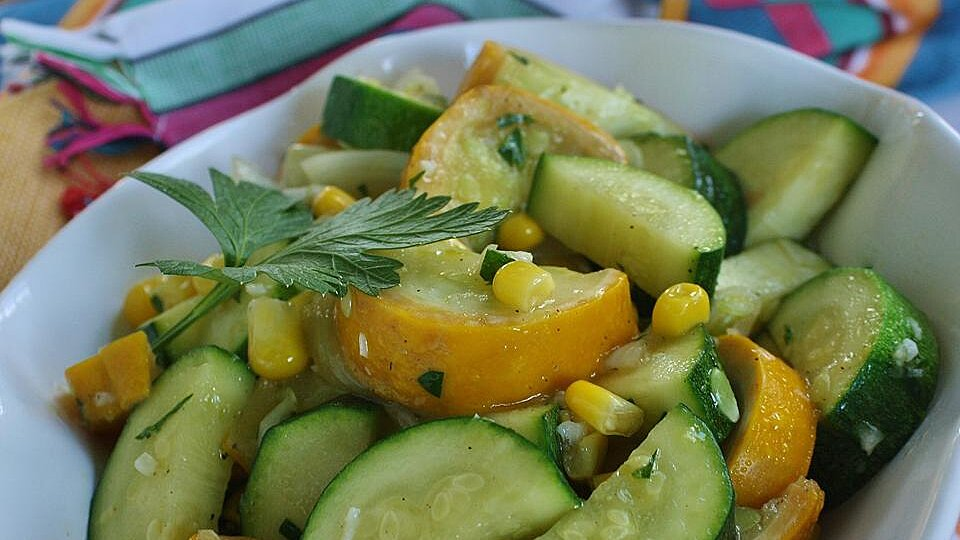 Garlicky Summer Squash and Fresh Corn