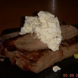 Kickin' London Broil with Bleu Cheese Butter K-Dub