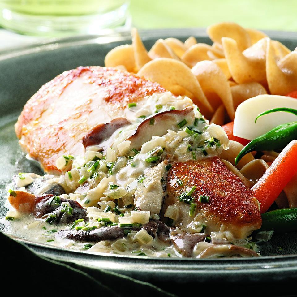 Chicken Breasts with Mushroom Cream Sauce EatingWell Test Kitchen