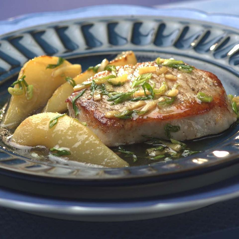 Pork Chops with Pear & Ginger Sauce EatingWell Test Kitchen