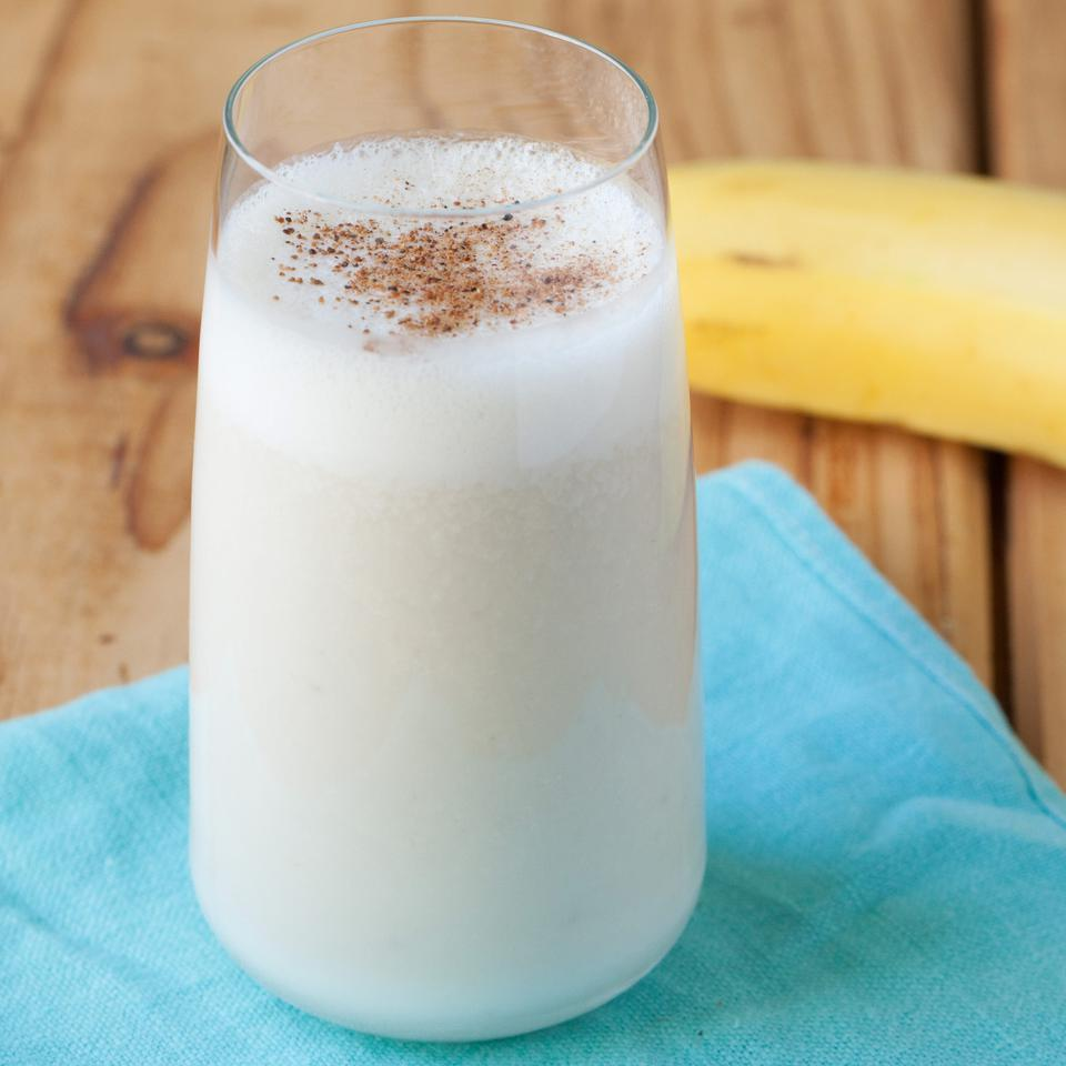 Based on an Indian yogurt drink called lassi, this healthy fruit smoothie gets its cool flavor from banana with a touch of rose water and nutmeg.