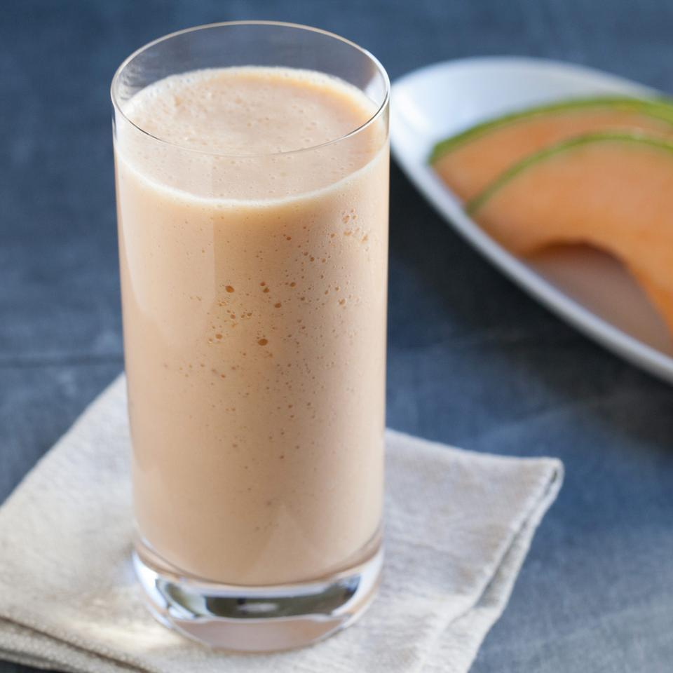 This healthy smoothie recipe is the perfect way to cool off in the summer when cantaloupe is at its peak, adding plenty of sweetness to this healthy snack.