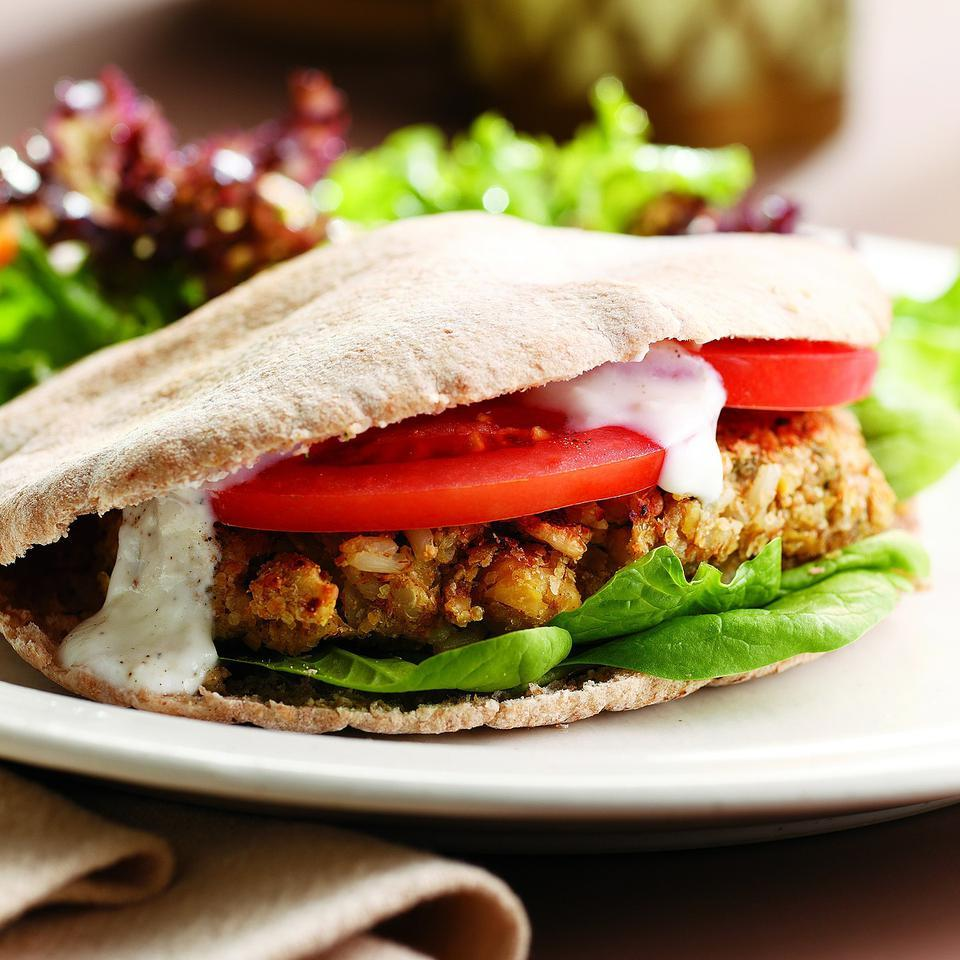 These chickpea burgers are similar to falafel, but with the added whole-grain goodness of brown rice and wheat germ. Serving them on pita breads with thick slices of tomato and a dab of plain yogurt continues the Middle Eastern theme, but if you want to take it even further, drizzle with a little sauce made with minced garlic and tahini thinned with water and lemon juice.Source: EatingWell Magazine, May/June 2011