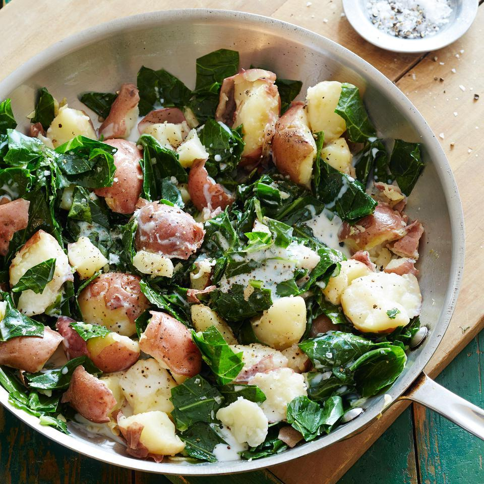 Crushed Red Potatoes with Winter Greens EatingWell Test Kitchen