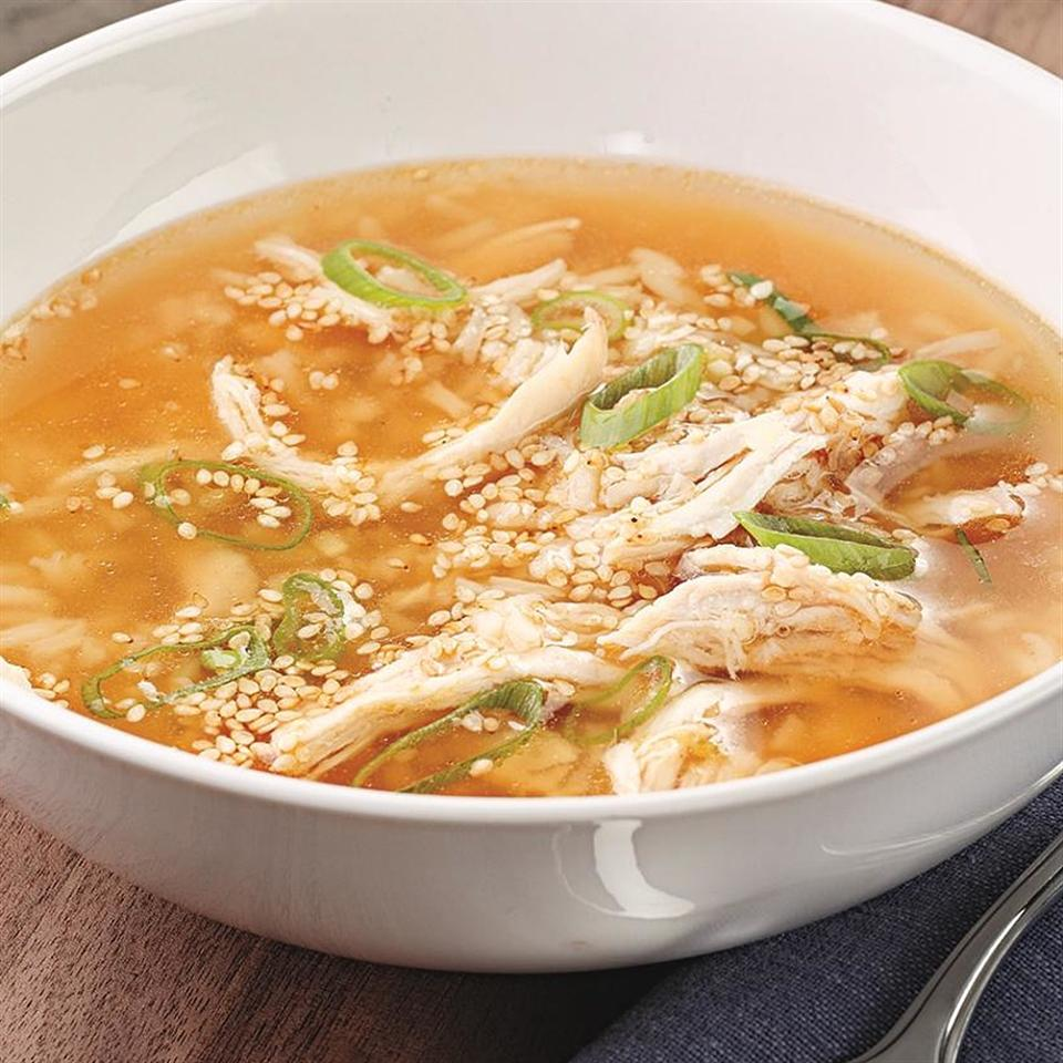 This quick and easy spicy chicken soup recipe is made with leftover cooked chicken and is spiked with garlic, ginger and hot sauce.
