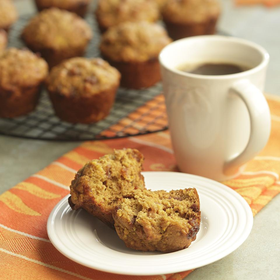A whole orange pulverized in the food processor gives these nutrient-rich date-pumpkin muffins a wonderful intense flavor.Source: EatingWell Magazine, Holiday Issue 1996