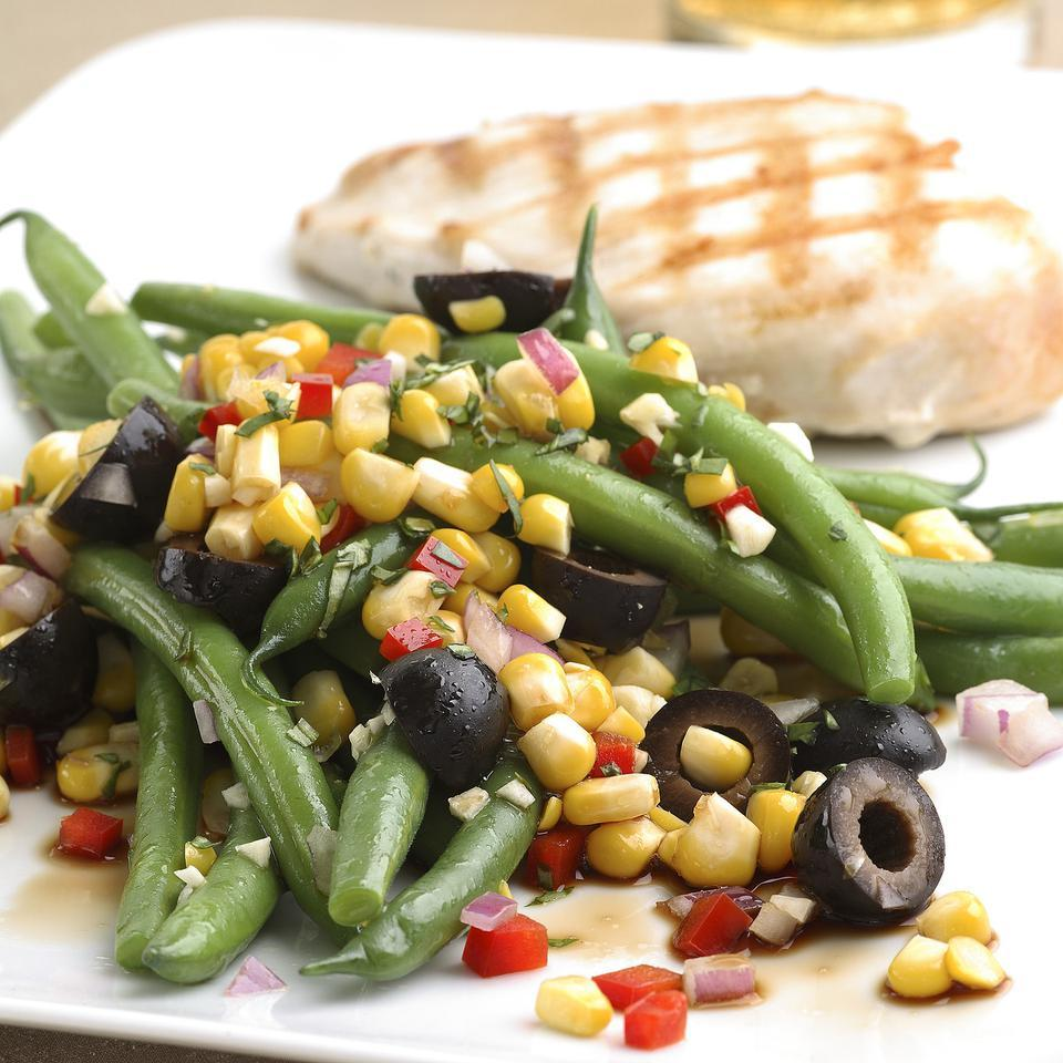 Green Bean Salad with Corn, Basil & Black Olives EatingWell Test Kitchen