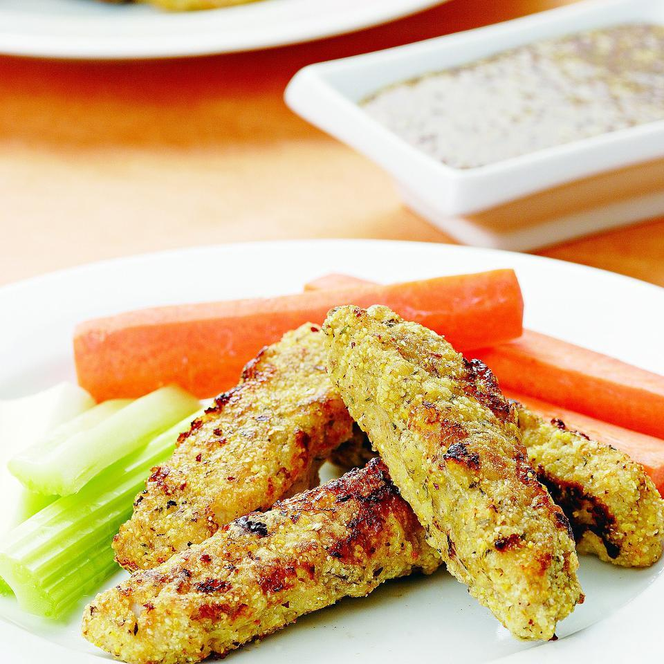 Turkey Fingers with Maple-Mustard Sauce EatingWell Test Kitchen