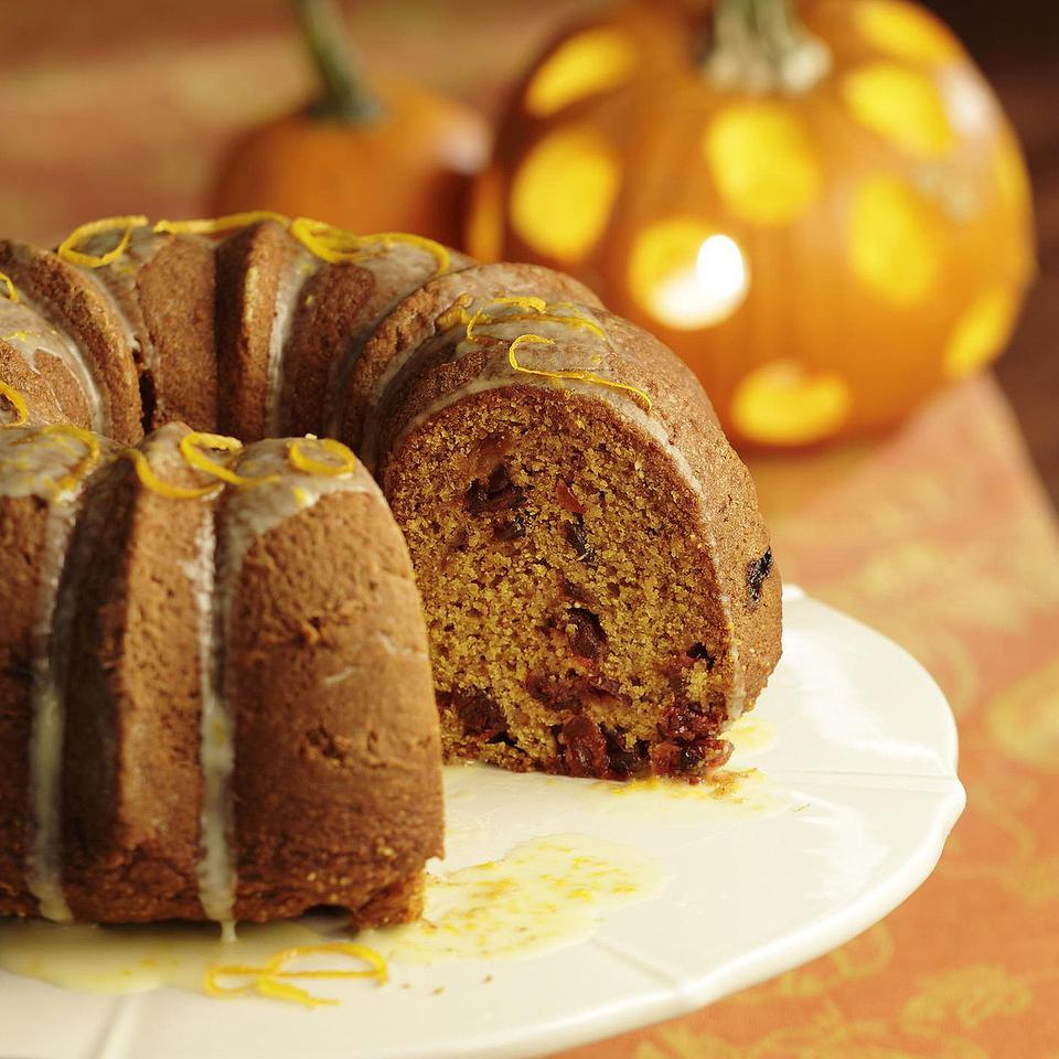 This pretty pumpkin-cranberry Bundt cake is a delicious alternative to holiday pumpkin pie.