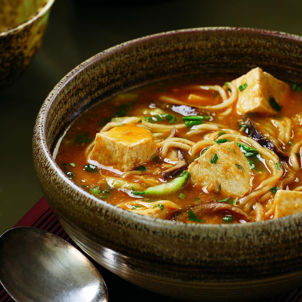 Warm up a chilly evening with this light but satisfying one-pot meal. The tofu absorbs the flavors of this fragrant, spicy broth, making it anything but bland. Look for fresh Chinese-style noodles in the refrigerated case of your supermarket alongside wonton wrappers. Source: EatingWell Magazine, September/October 1996