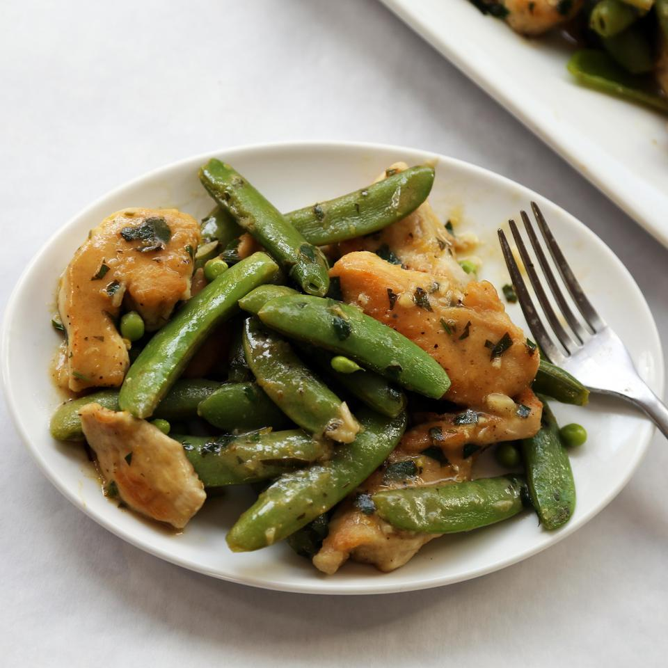 Lemony Sugar Snap & Chicken Stir-Fry EatingWell Test Kitchen