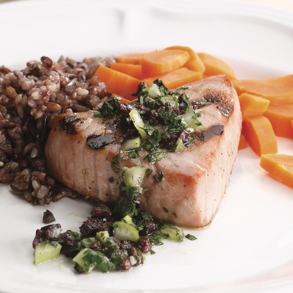 Grilled Tuna with Olive Relish EatingWell Test Kitchen