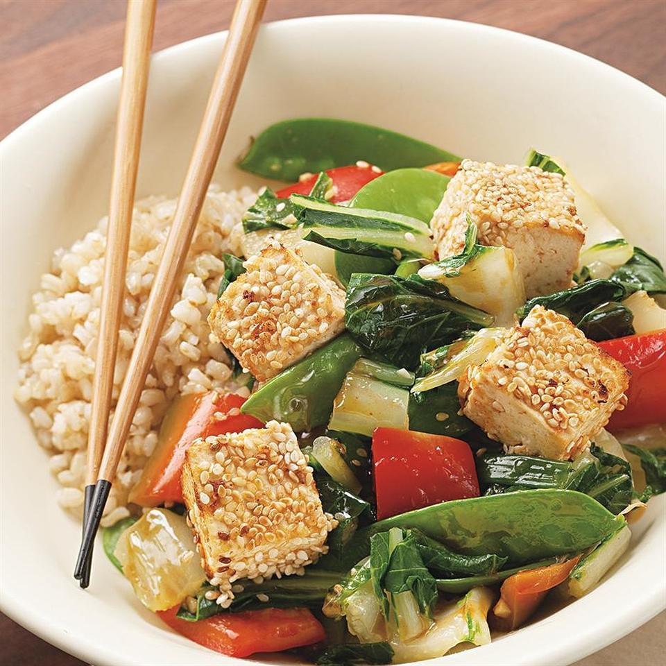 Sesame-Crusted Tofu over Vegetables Victoria Abbott Riccardi
