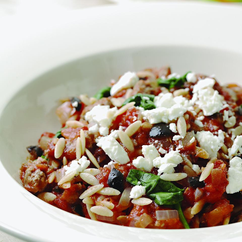 Orzo with Lamb, Olives & Feta for Two