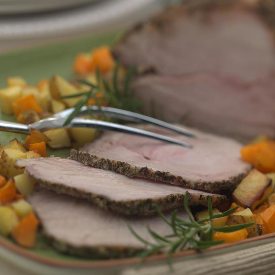 Rosemary & Garlic Crusted Pork Loin with Butternut Squash & Potatoes Marie Simmons