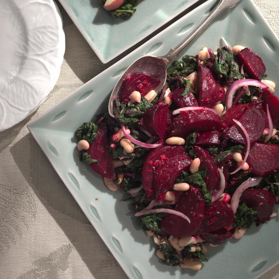 Beets & Greens Salad with Cannellini Beans Marie Simmons
