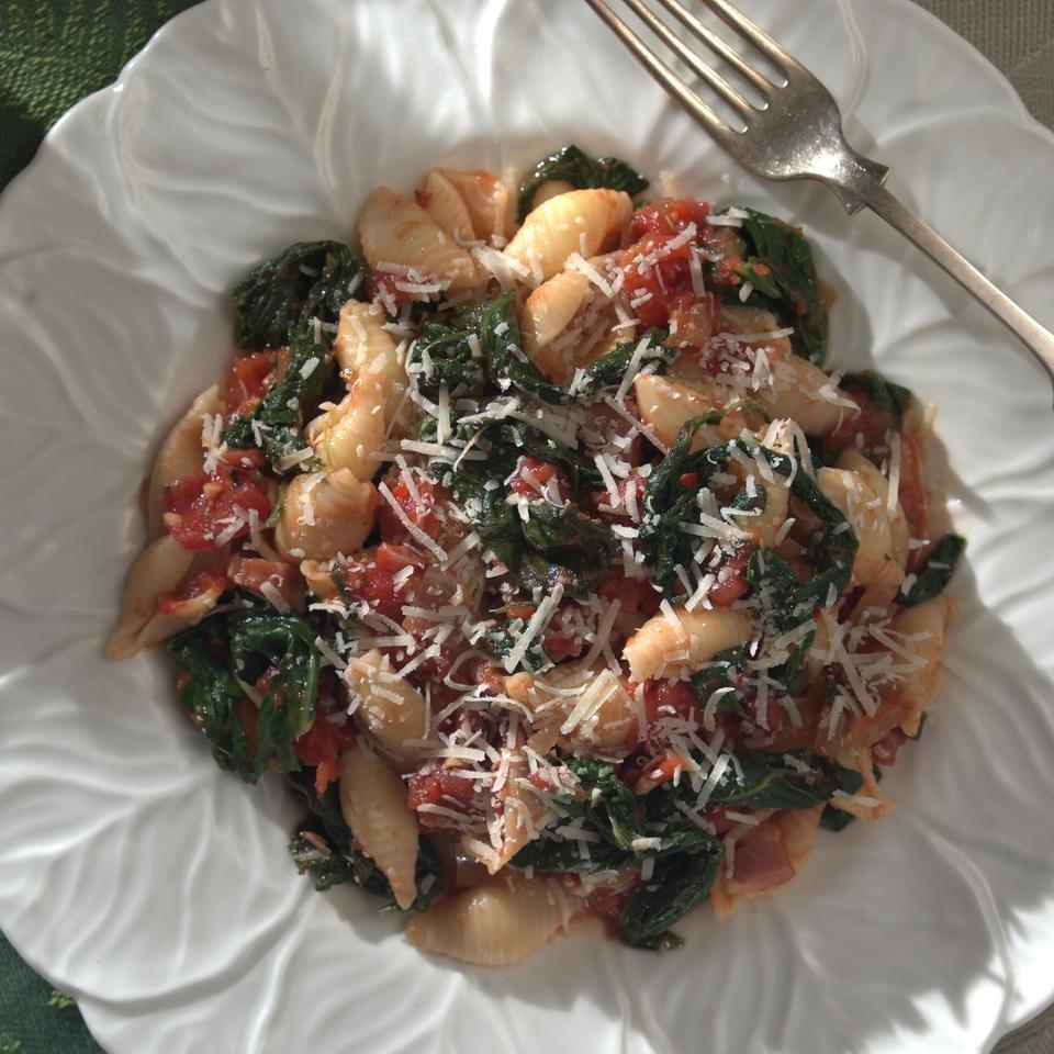 Pasta with Greens & Tomato Sauce Marie Simmons