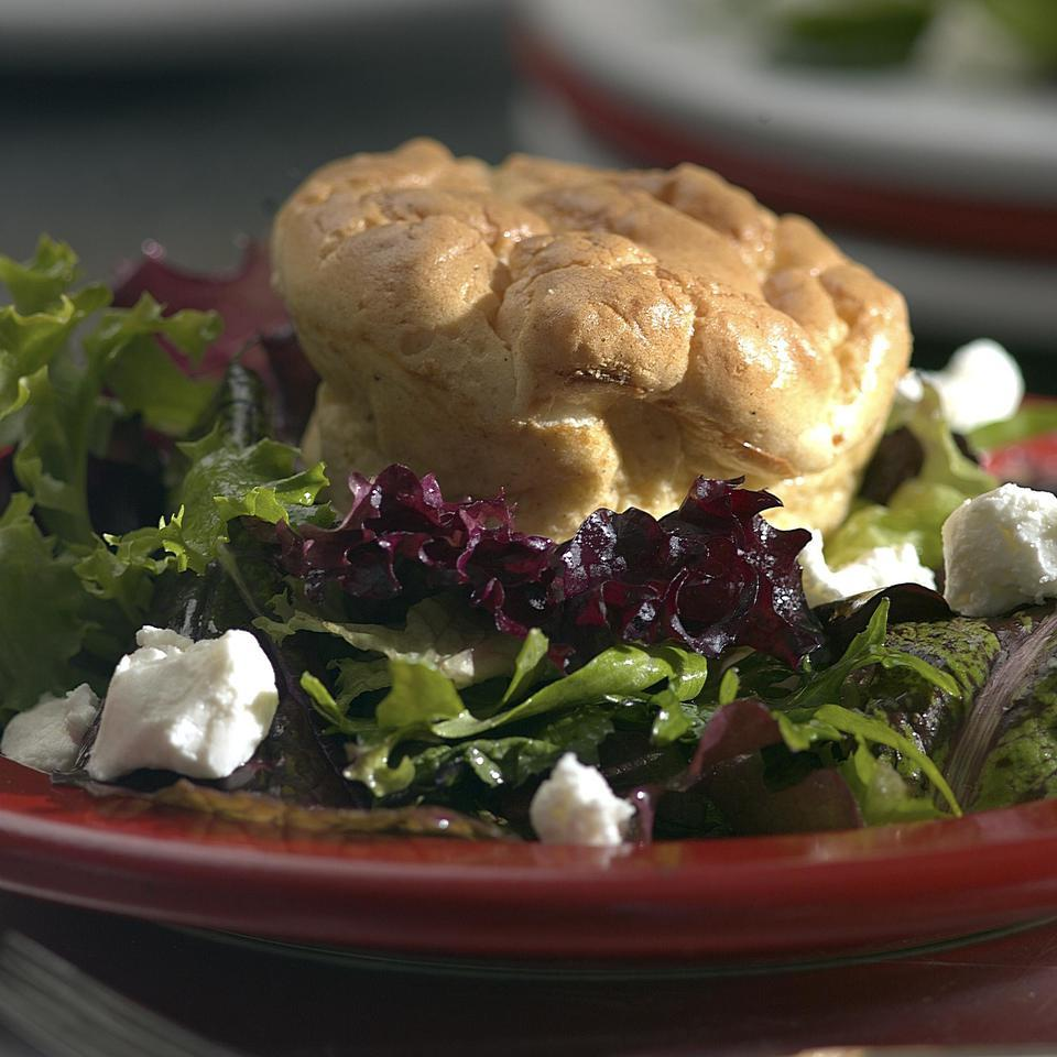 Twice-Baked Goat Cheese Souffles on a Bed of Mixed Greens Marie Simmons