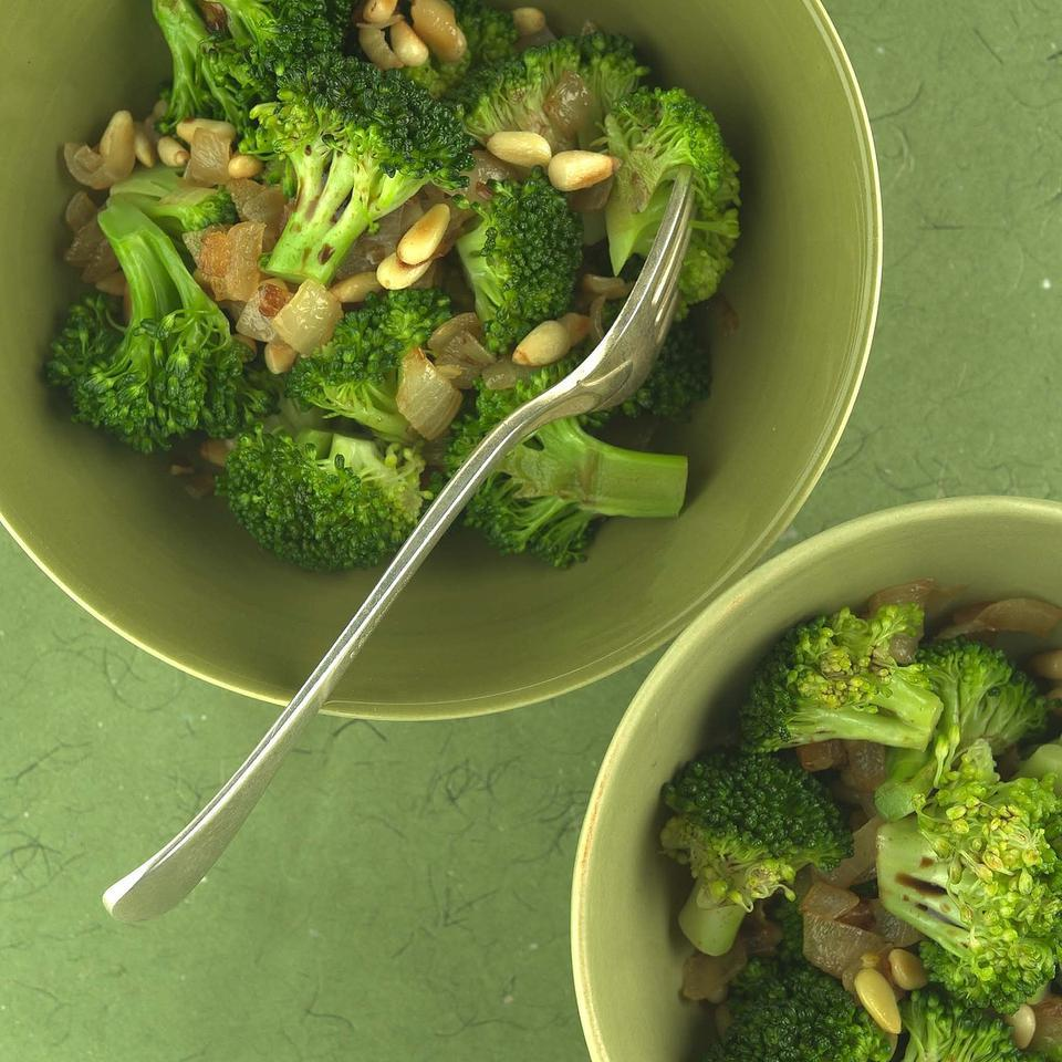 Broccoli's impressive nutritional profile (think folate, vitamins C and A, fiber, phytochemicals) puts it high on the list of foods to eat more of, an inviting task when you toss it with crunchy pine nuts, soft, sweet onions and tangy balsamic vinegar.