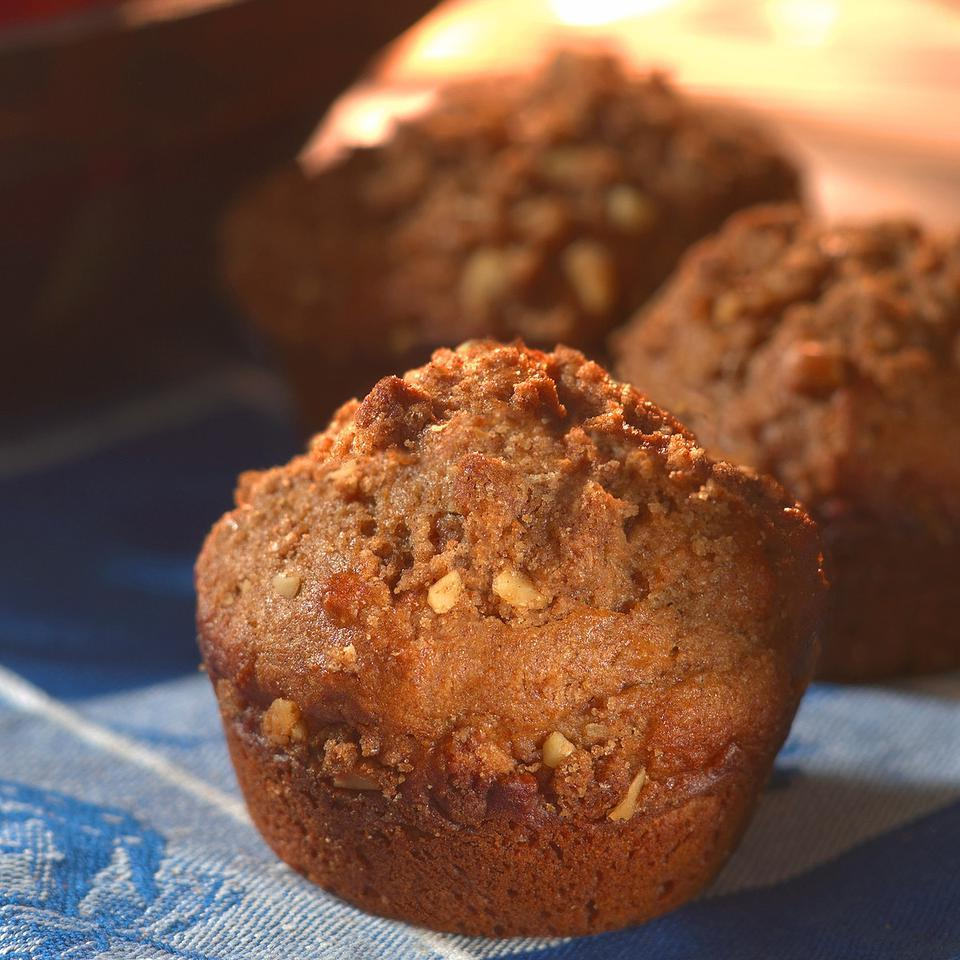 Cider doughnuts, a New England harvest treat, inspired these spice-happy muffins. A crumbly streusel topping made with a small amount of butter provides a delicious finish.Source: EatingWell Magazine, Winter 2004