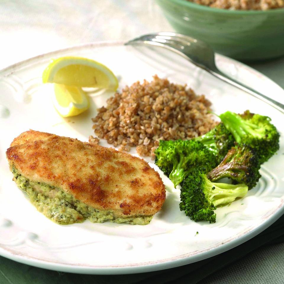 Cream cheese and pesto make a delectable filling for lean chicken breasts. Use this technique to experiment with other fillings as well, such as ham and cheese or goat cheese and chopped olives. Source: EatingWell Magazine, Winter 2004