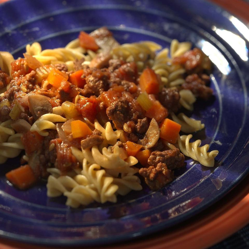Whole-Wheat Fusilli with Beef Ragu Mary Ellen Evans