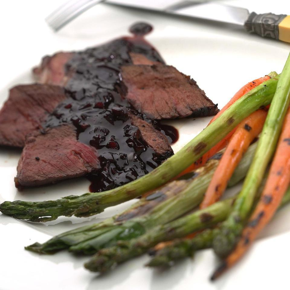 London Broil with Cherry-Balsamic Sauce EatingWell Test Kitchen