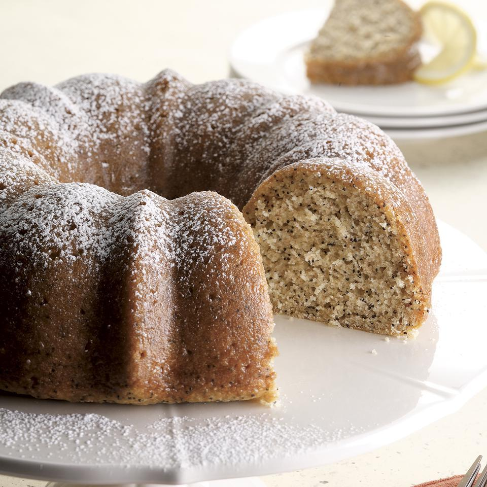 We love that Bundt cakes don't demand frosting–just let a sweet lemon glaze run over the poppy-seed cake and you've got perfection.