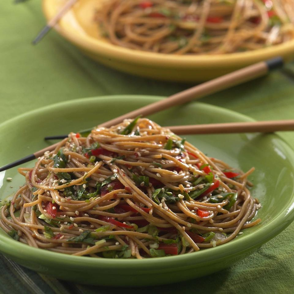 Whole-wheat pasta bolsters fiber and nutrients in this popular Asian noodle salad. The recipe is from Annelise Stuart of Germantown, New York. Source: EatingWell Magazine, Summer 2004
