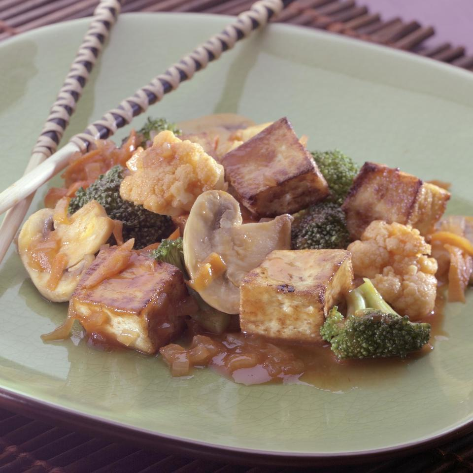 Tofu & Veggies with Maple Barbecue Sauce EatingWell Test Kitchen