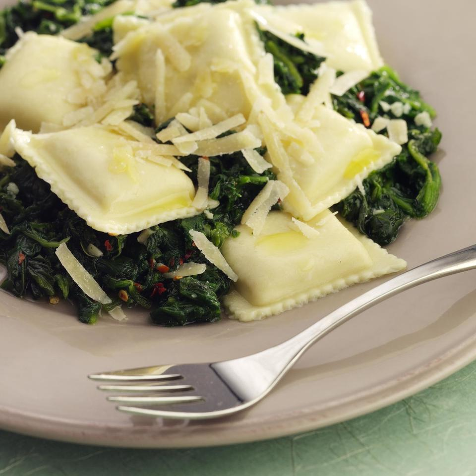 The flavors of Italy are best expressed in simplicity: a dash of spices, a little oil and dinner's on the table in minutes--especially if you use frozen spinach and frozen ravioli or tortellini. Source: EatingWell Magazine, February/March 2005