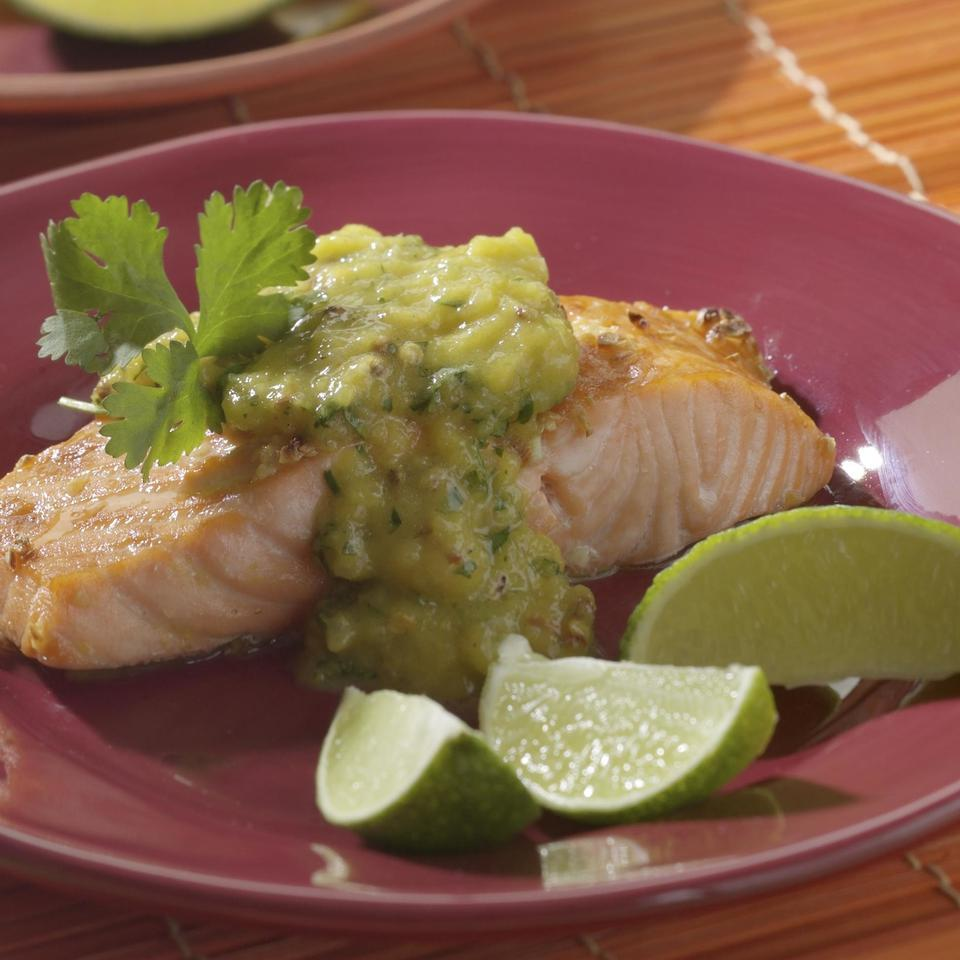 Salmon with Roasted Chile-Mango Sauce Raghavan Iyer