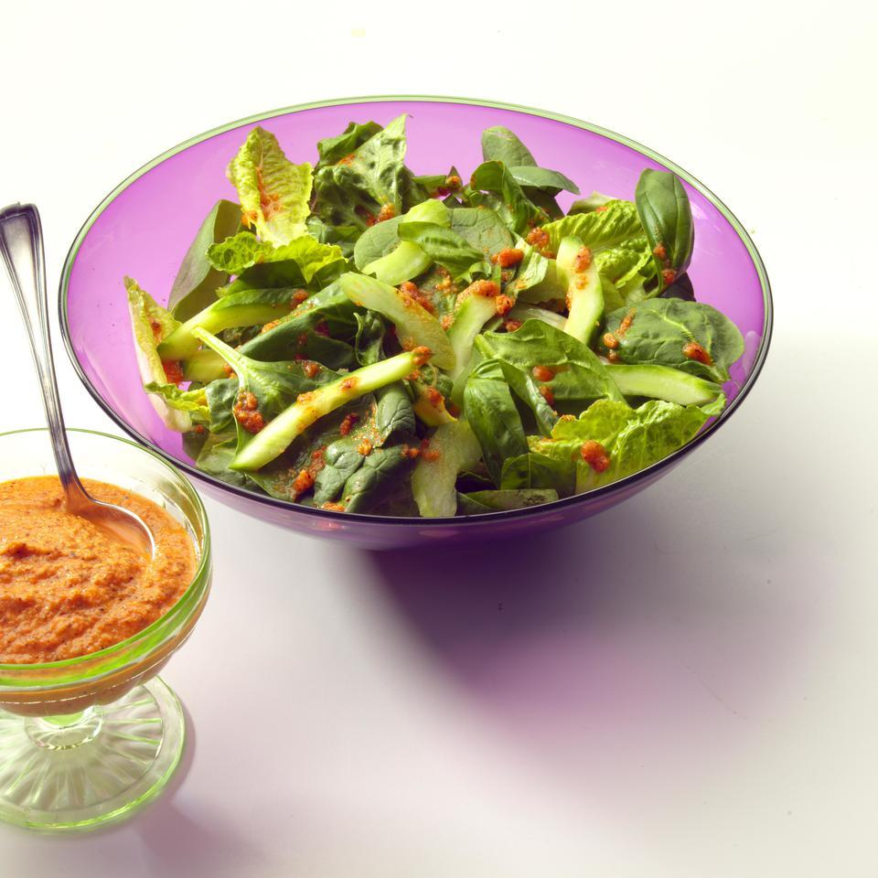 Spring Green Salad with Rouille Dressing EatingWell Test Kitchen