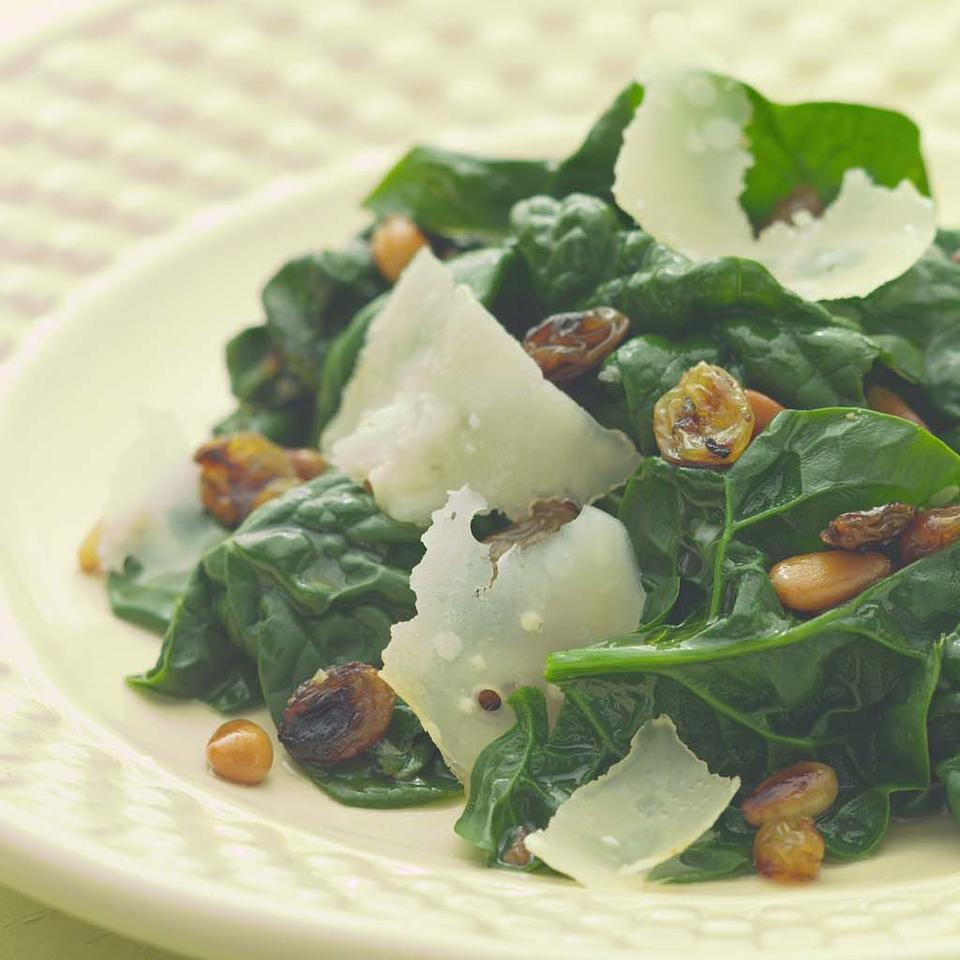 Sauteed Spinach with Pine Nuts & Golden Raisins EatingWell Test Kitchen