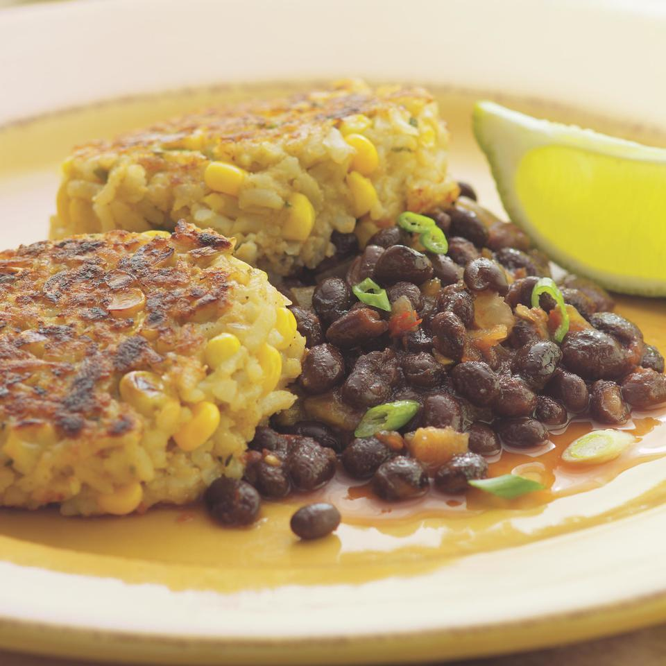 Rice & Corn Cakes with Spicy Black Beans Susan Herr