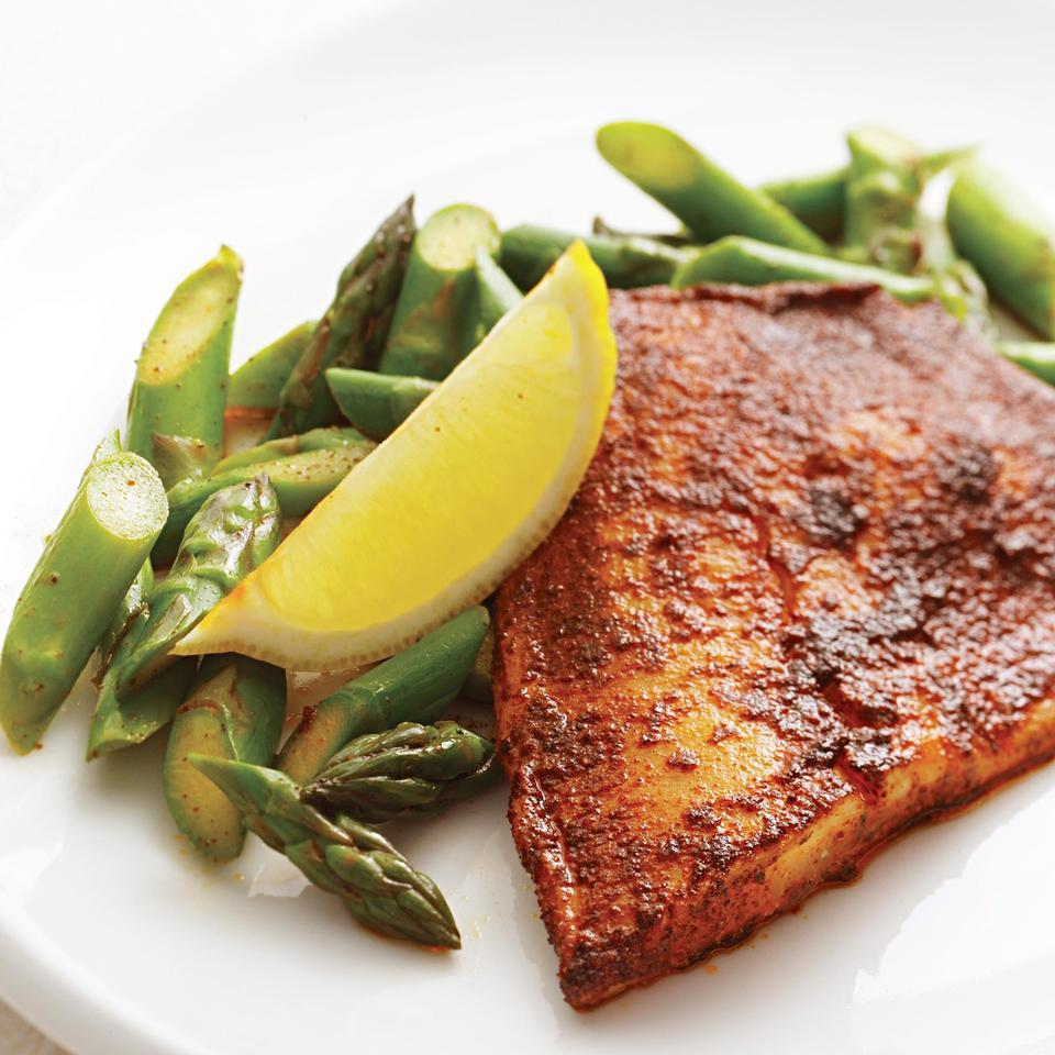 Tilapia, a relatively plentiful fish, has the unfortunate reputation of being dull. All it needs is a spice rub, a familiar barbecuing technique that works just as well indoors. You could also use this rub on chicken breasts or toss it with lightly oiled shrimp before cooking. Source: EatingWell Magazine, April/May 2005