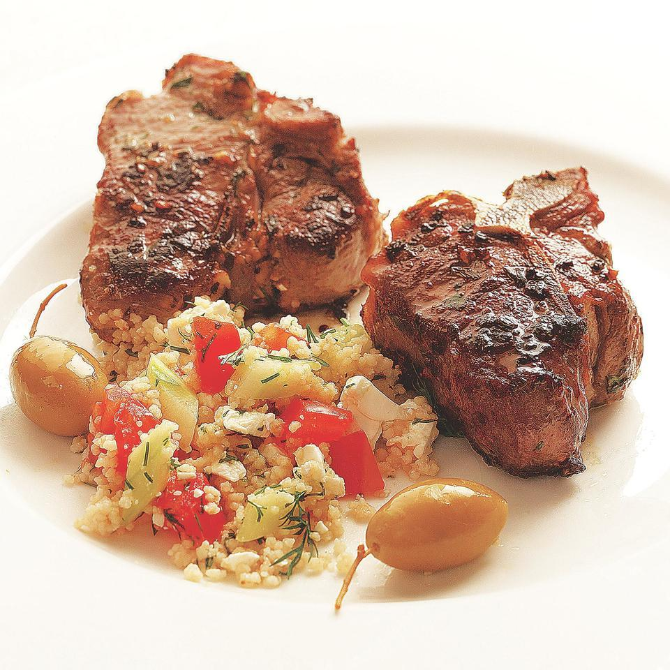 Lamb loin chops are a healthy alternative to the more popular and more fatty lamb shoulder chops. The loin chops have quite enough flavor to stand up to this herbaceous couscous.