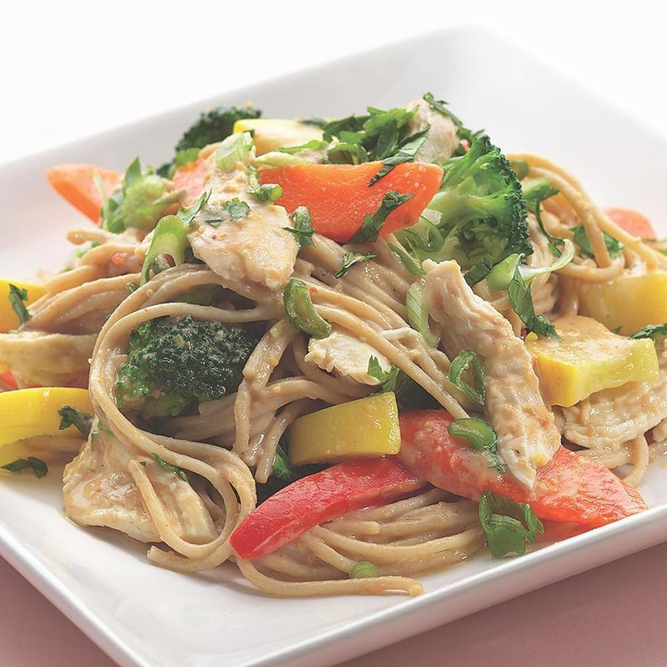 Peanut Noodles with Shredded Chicken & Vegetables EatingWell Test Kitchen