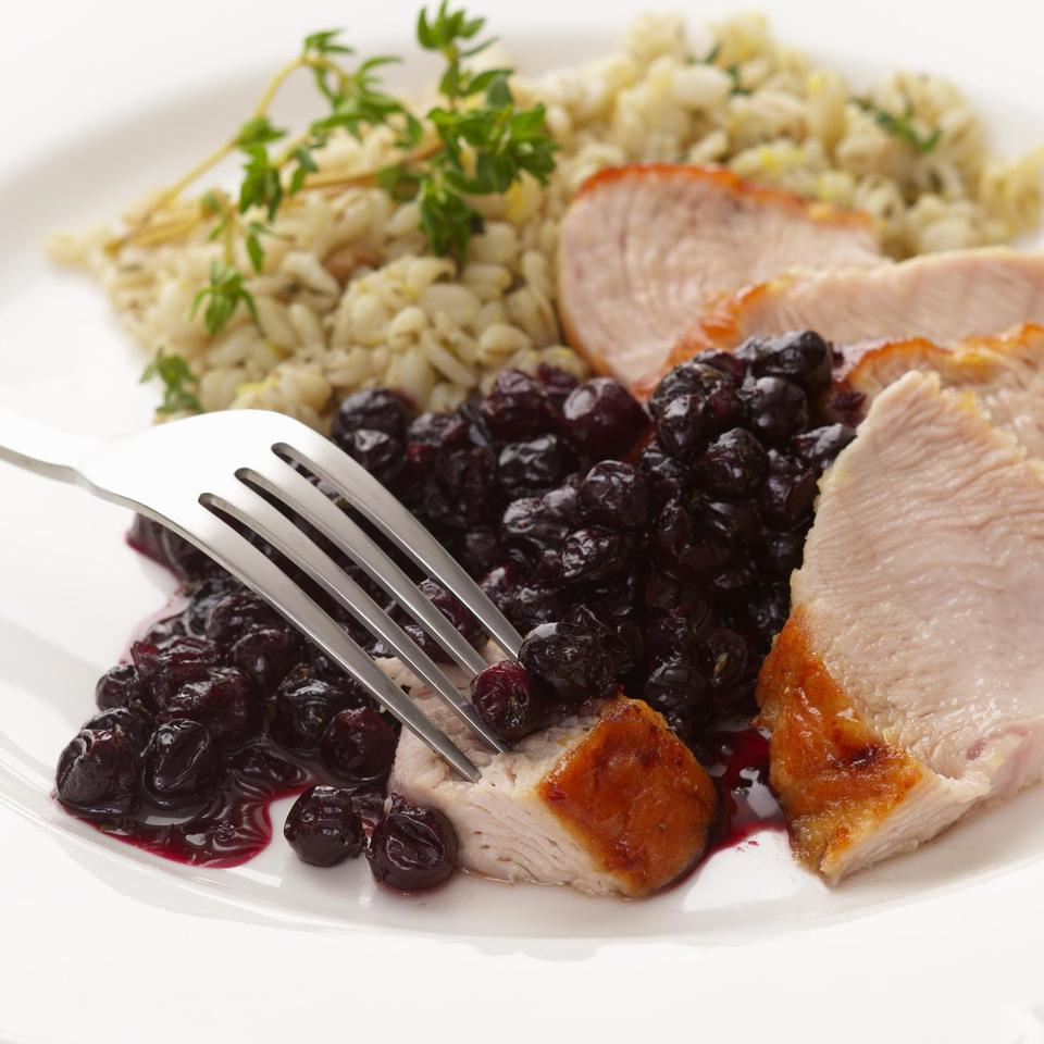 Turkey with Blueberry Pan Sauce EatingWell Test Kitchen