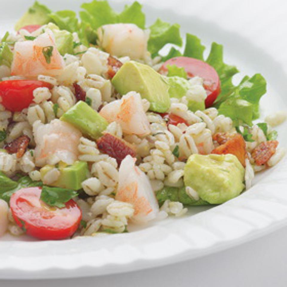 Bacony Barley Salad with Marinated Shrimp EatingWell Test Kitchen