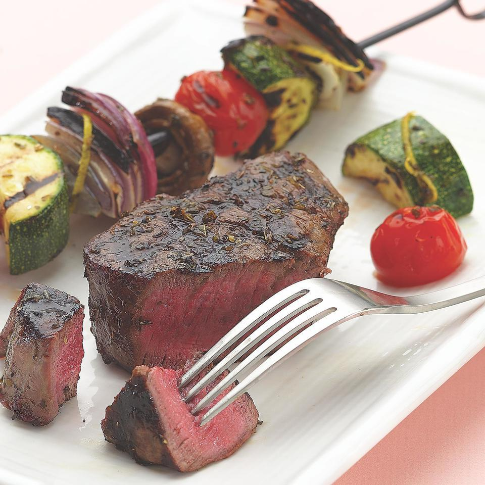 Grilled Filet Mignon with Vegetable Kebabs EatingWell Test Kitchen