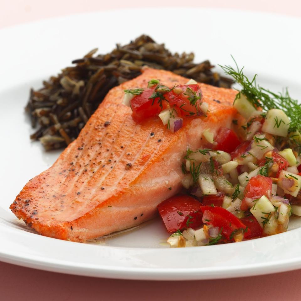 Pan-Seared Salmon with Fennel & Dill Salsa EatingWell Test Kitchen
