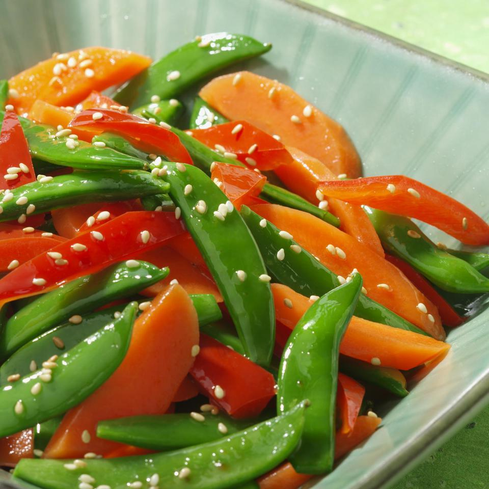 Sesame Snap Peas with Carrots & Peppers EatingWell Test Kitchen