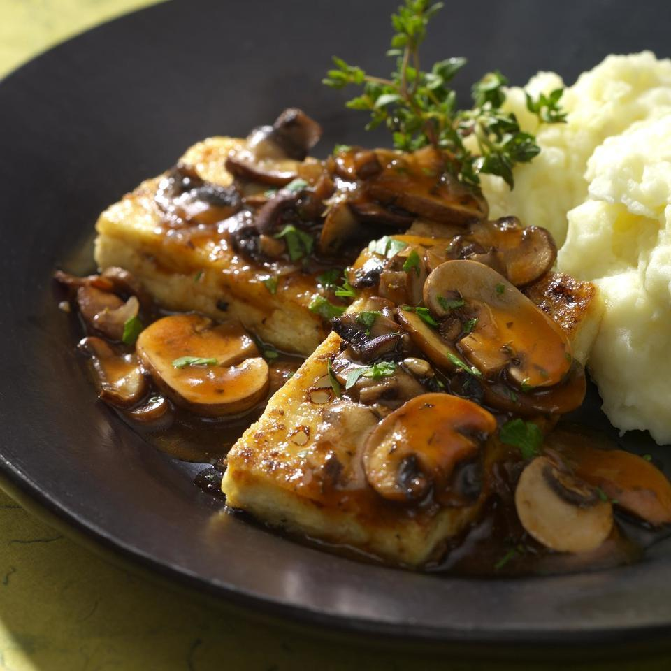 """In this dish, tofu """"cutlets"""" are dredged and sauteed as you would a chicken breast or fish fillet. Try the technique using any of your favorite pan sauces."""