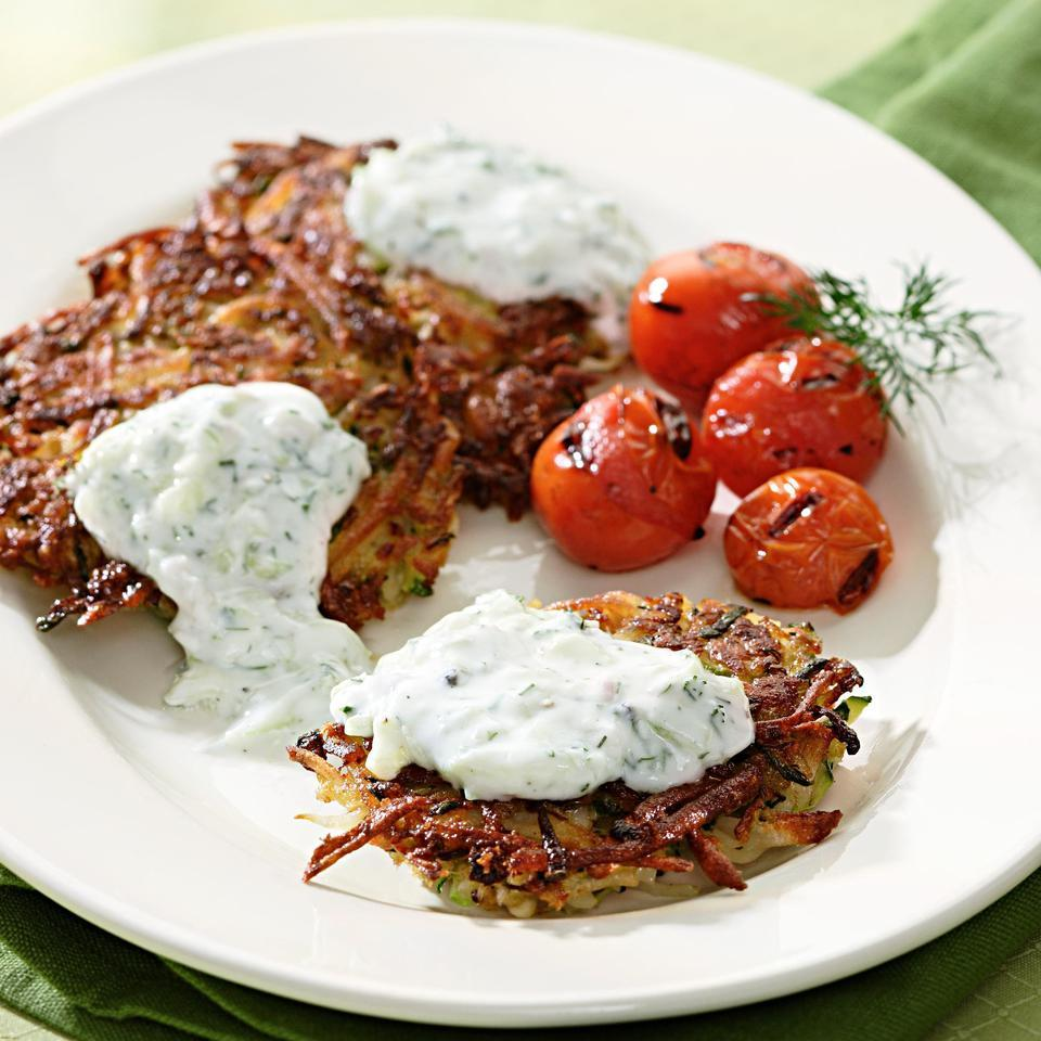 Tzatziki, a flavorful Greek yogurt sauce laced with cucumber, is a tangy accompaniment for these high-fiber latkes. Make it a meal: Enjoy with sliced fresh tomatoes and a few kalamata olives or put patties and tzatziki (yogurt sauce) in pita pockets for lunch on the go.