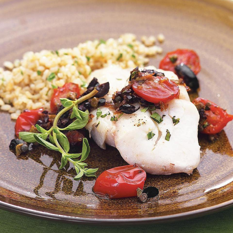 Roasted Cod with Warm Tomato-Olive-Caper Tapenade EatingWell Test Kitchen