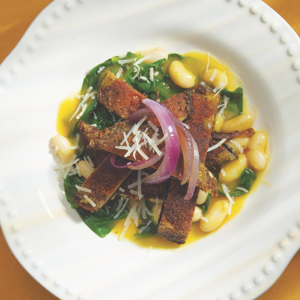 Portobello Paillards with Spinach, White Beans & Caramelized Onions Victoria Abbott Riccardi