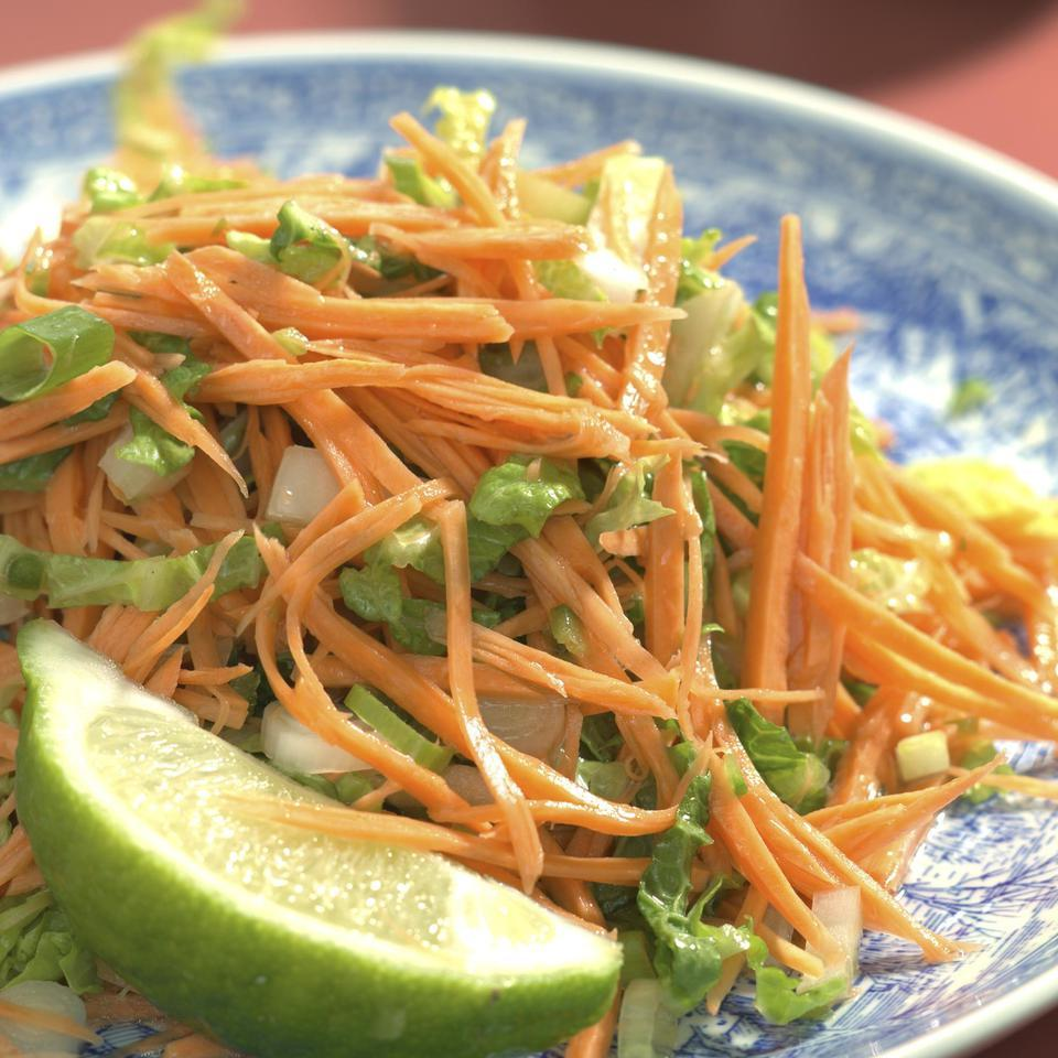 Sweet potatoes can be eaten raw as well as cooked. Here they star in a sprightly slaw, a quick and light accompaniment for simple poached or steamed fish.