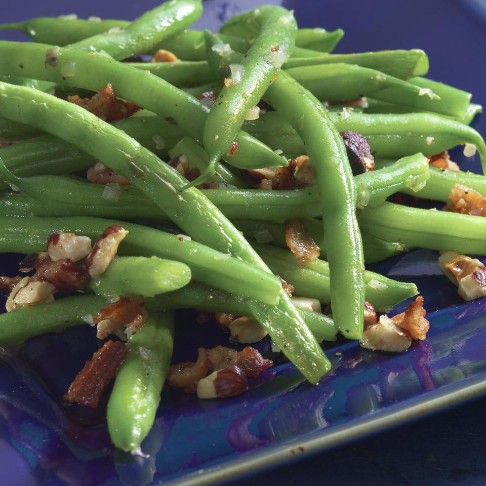 Green Beans with Bacon & Hazelnuts EatingWell Test Kitchen