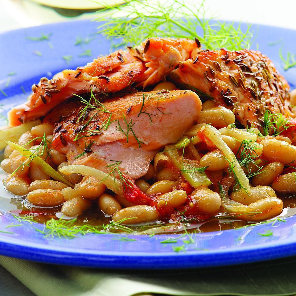 Fennel-Crusted Salmon on White Beans EatingWell Test Kitchen